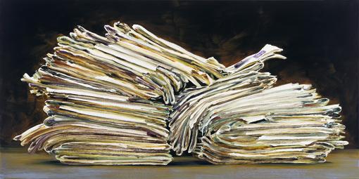 Zeitungsstapel, 2017, Öl auf Leinwand, 110x220cm