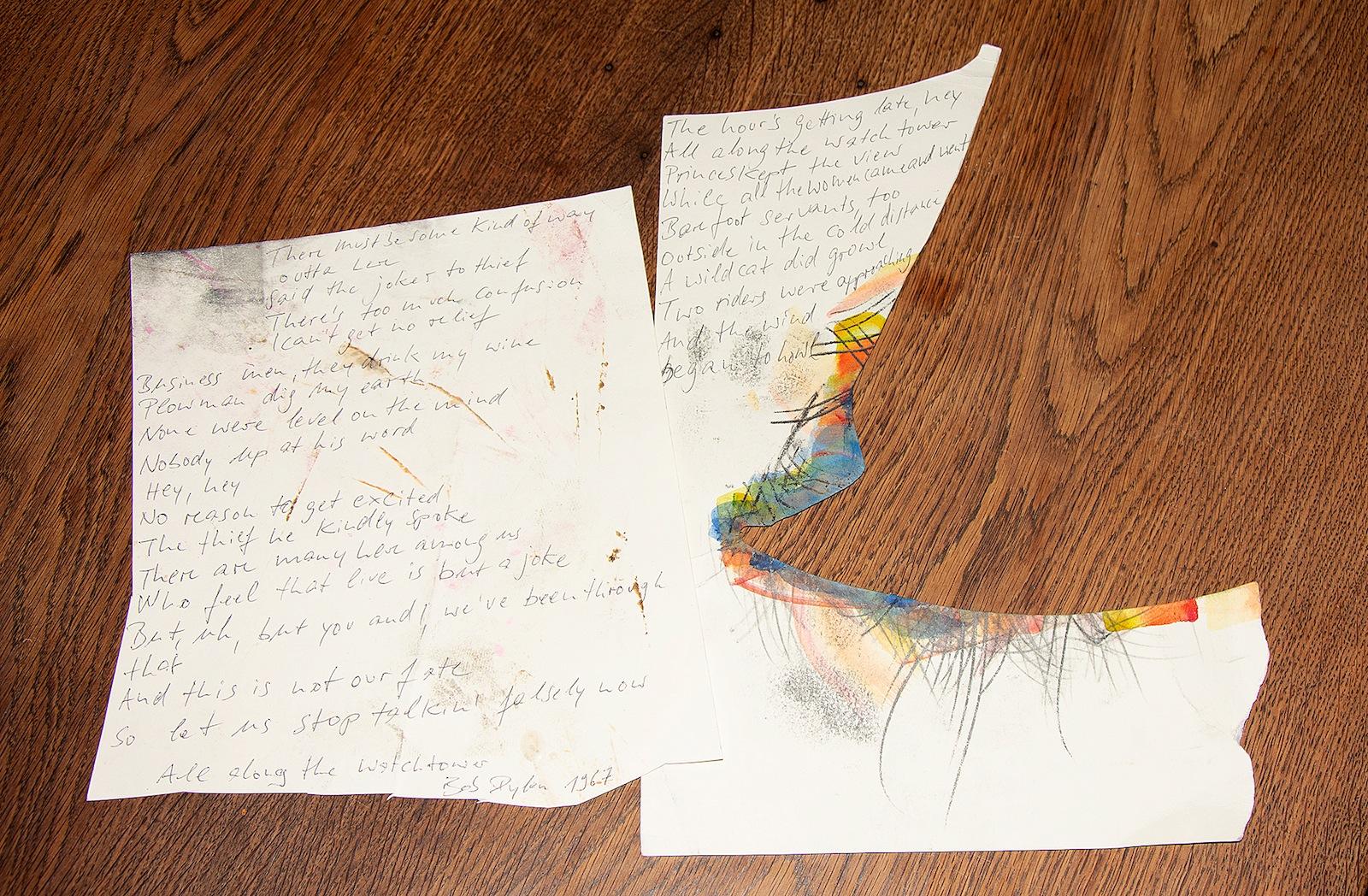"Bruno Kuhlmann, ""All along the Watchtower, 1967, Bob Dylan"", Textblatt, zweiteilig, Kugelschreiber auf Papier"