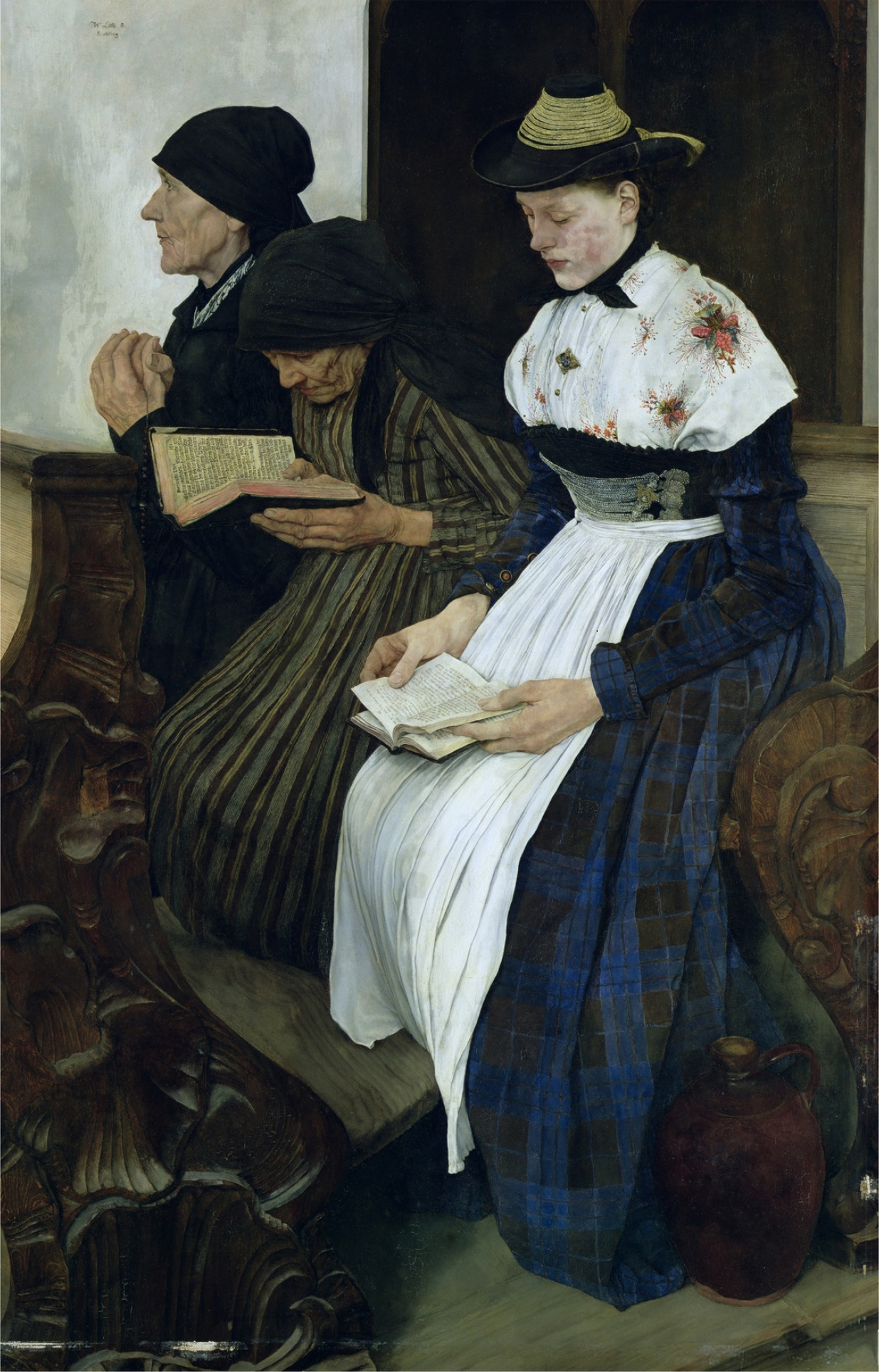 Three Women in Church, 1882 (oil on panel)