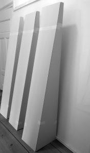 Strebepfeiler für Rosenheim-Modell, 2018, 170x30x40cm, Holz, Graupappe, Scharnier,Tape,Foto Jürgen Liefmann
